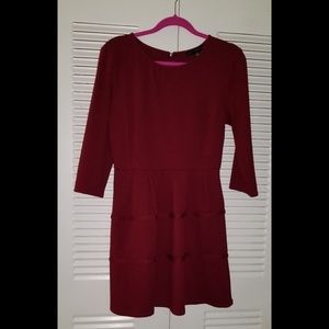 Red mini dress with three quarter sleeves